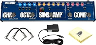 Tech 21 Bass Fly Rig Bass Multi-effects Pedal Bundle with Chorus, Octafilter, SansAmp, Compression and Tuner with 2 Patch Cable ac power adapter and Zorro Sounds Polishing Cloth