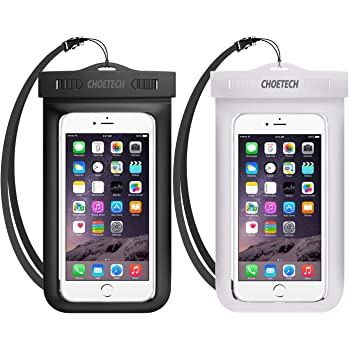 CHOETECH Funda Impermeable Universal,2X Funda Celular contra Agua Bolsa Transparente para iPhone 11 Pro Max/X/XS MAX/XR/8 Plus,Samsung Galaxy S10 Plus/S9/A50,Xiaomi Redmi Note 7,Sony,LG,Huawei y 6.5''