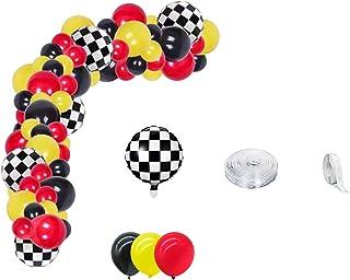 Racing Car Balloons Arch Set, Race Car Birthday, Checker Flag Balloon Garland Kit (105 balloons), Racing Balloon Garland A...