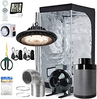 BloomGrow 300W Full Spectrum UFO LED Light + 32``x32``x63`` Grow Tent + 4`` Inline Fan Filter Duct Combo + Hangers + Hygrometer + Shears + 24-hour Timer + Trellis Netting Indoor Grow Tent Complete Kit