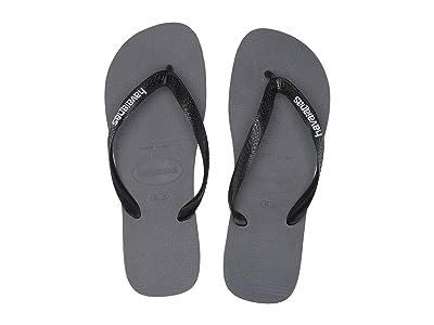 Havaianas Logo Filete Flip Flops (Steel Grey/White) Men