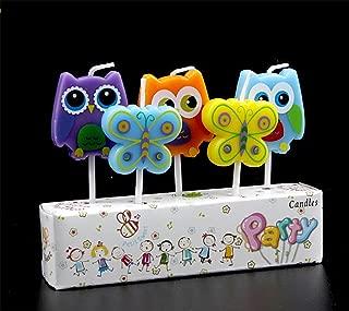 Creationtop Birthday Candles Newborns, 1st Birthday,Wedding Love Candles for Cake (Owl/Butterflies)