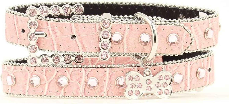 Blazin Roxx Croco & Crystal Dog Collar  Large  Pink