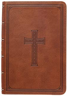 KJV Holy Bible, Large Print Compact Bible, Tan Faux Leather Bible w/Ribbon Marker, Red Letter Edition, King James Version: 1