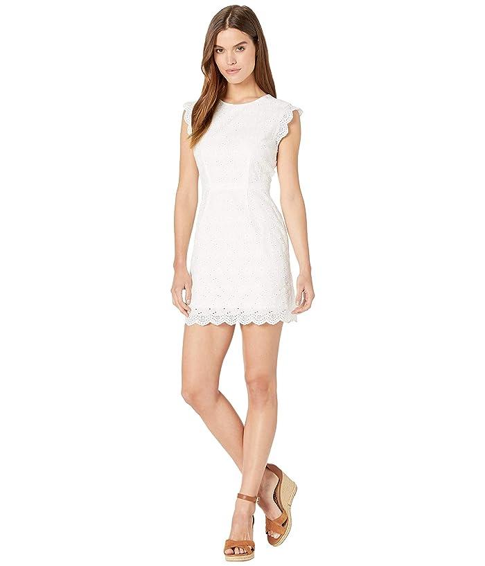 Cupcakes and Cashmere Keren Ruffle Sleeve Eyelet Dress (White) Women
