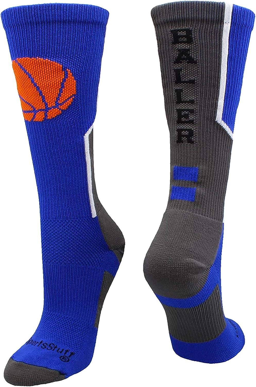 MadSportsStuff Baller Basketball Socks with Basketball Logo Crew Length