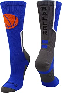 MadSportsStuff Baller Basketball Socks with Basketball Logo Crew Length