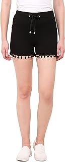 LE BOURGEOIS Women's Hem Detailing Shorts (Maroon)