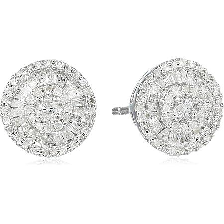 Sterling Silver Diamond Round Stud Earrings (1/2 cttw)