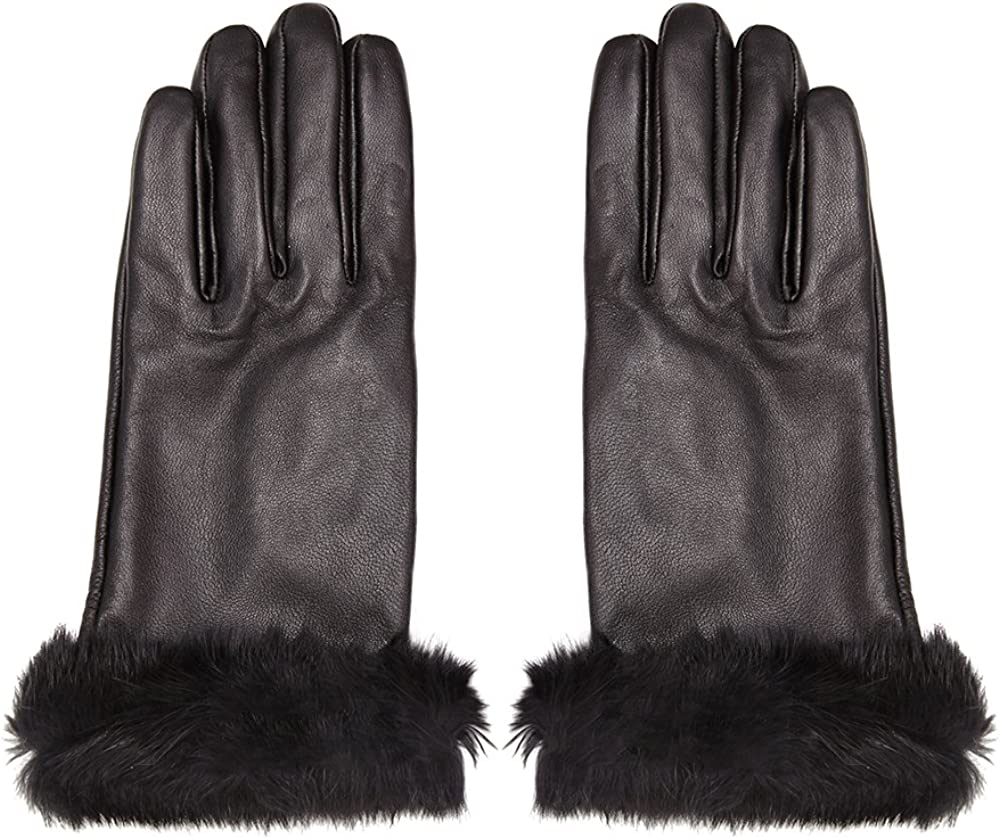 Ladies Leather Gloves with Fur Cuff