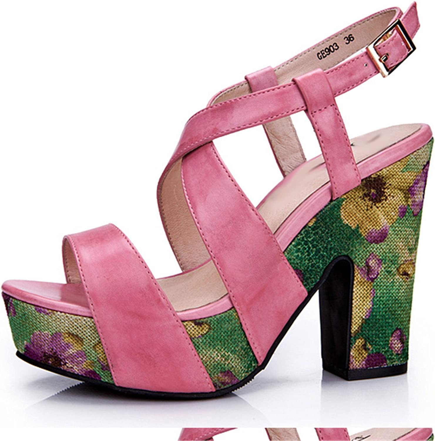 Karl Conner Women Pink Leather Sandals Platform High Heels Sandals