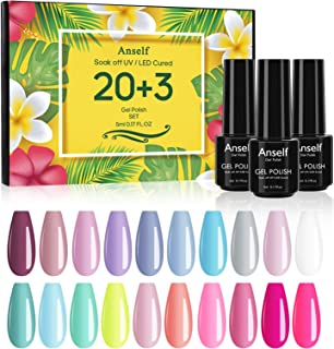 Anself 20 color Soak Off Gel Nail Polish Set + Capa Base + Capa Superior + Capa Superior Mate Juego de Esmalte de Gel de M...