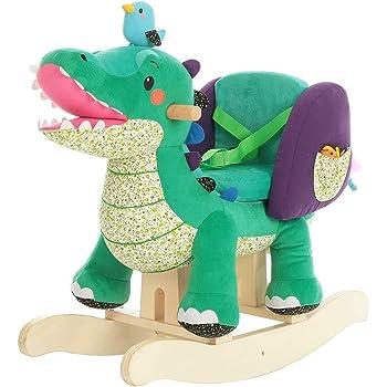Labebe ni/ños Rocking Ride-on Juguetes de 6 Meses a 3 a/ños de Edad beb/és y beb/és Certificado de Seguridad ASTM,Verde Uso Dual como Cochecito beb/é Caballo Mecedora de Madera 2-en-1 Dinosaurio