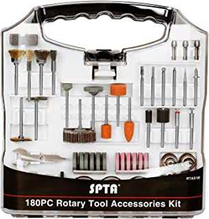 SPTA 180Pcs Rotary Tool Accessory Set with 3mm Shank- For Rotary Tools - Cutting, Grinding, Sanding, Sharpening, Carving & Polishing