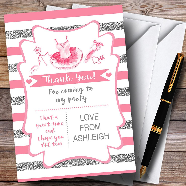 Silver & Pink Stripes Ballerina Ballet Party Thank You Cards
