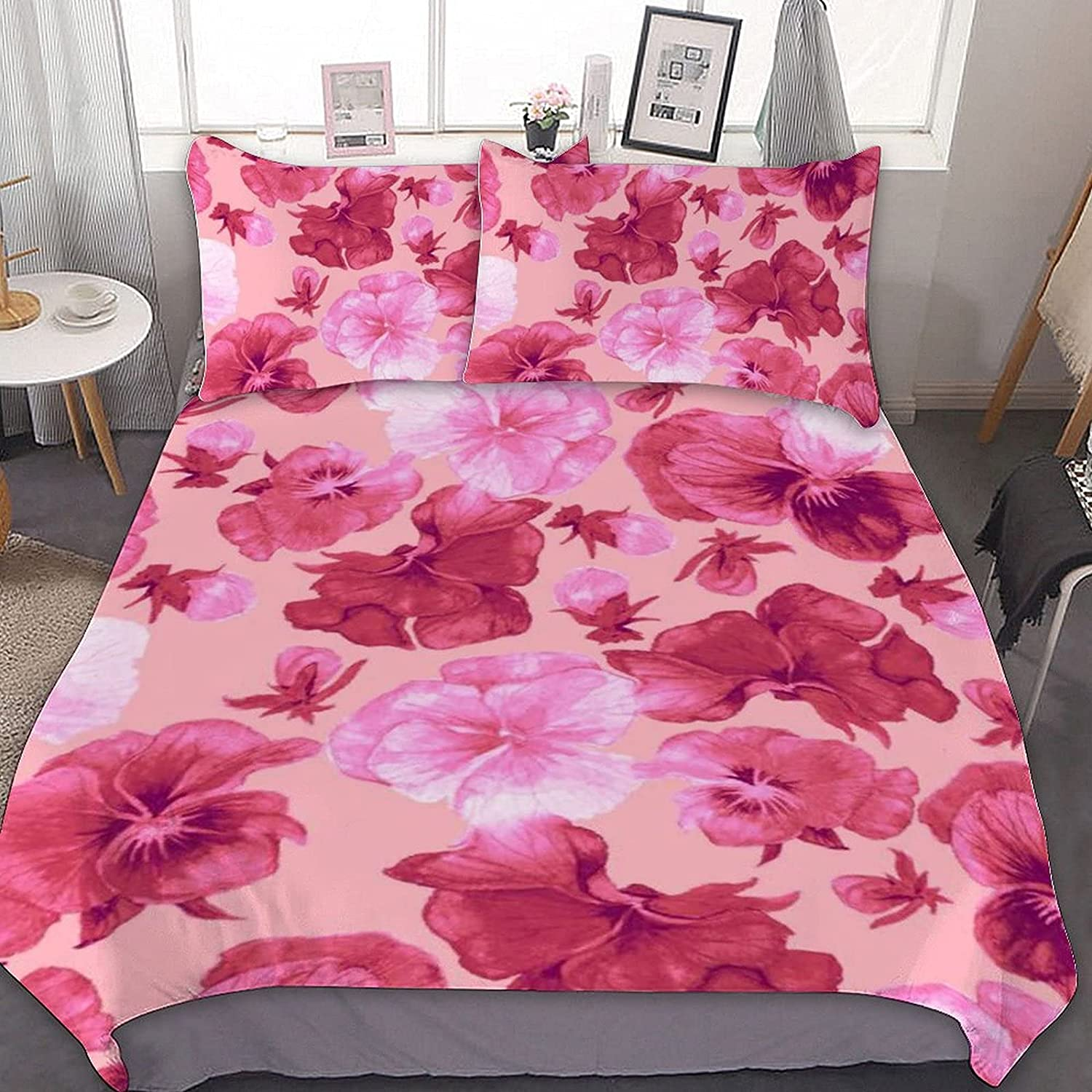 PNNUO Pink Flower Queen Bed Set King Full Max 41% OFF Max 82% OFF Size Twin Comforter Se