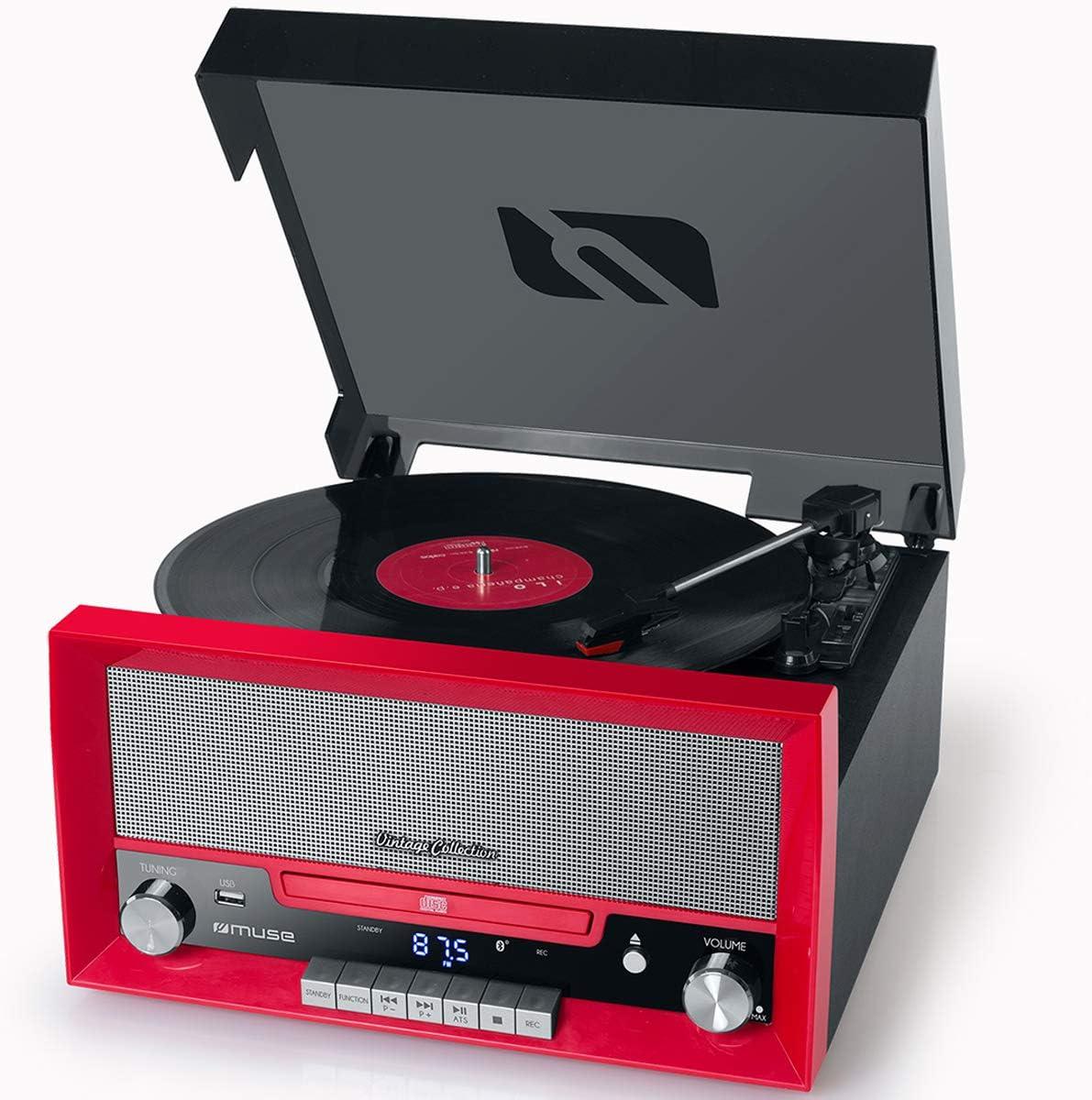 Muse Mt 110 B Retro Stereo Anlage Mit Plattenspieler Bluetooth Cd Player Und Radio Mit Usb Für Wiedergabe Und Aufnahme Rot Heimkino Tv Video