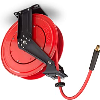 TEKTON 50-Foot by 3/8-Inch I.D. Dual Arm Auto Rewind Air Hose Reel with USA-Made Rubber Air Hose (250 PSI)   46875 (Renewed)