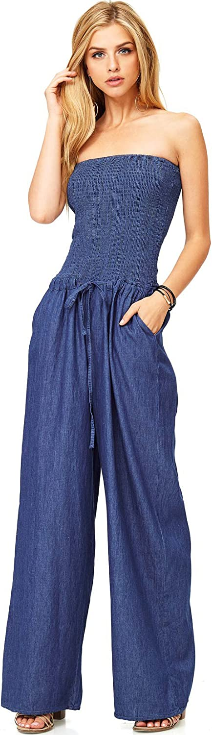 Hendi Women's Juniors Denim Tube Top Wide Leg Jumper