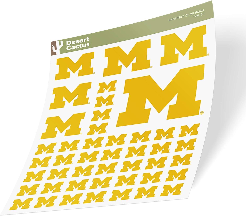 University of Michigan Wolverines Sticker Vinyl Decal Laptop Water Bottle Car Scrapbook (Sheet - Type 3)