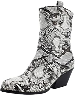 Ankle Boots for Women,Snakeskin Booties with Comfortable Heels Ankle Bootie Madeline Western Almond Toe Slip on Boots - coolthings.us