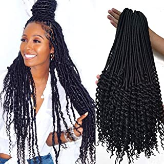 20 inch black Curly Faux Locs crochet Hair 6 packs soft Synthetic Crochet Braid Dreadlocks Braiding Hair for black women