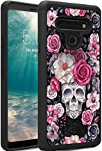 LG Stylo 6 Case, Hybrid Dual Layer Hard PC and Soft Rubber Heavy Duty Protective Shockproof TPU Full-Body Protection Phone Cover, Skull Rose