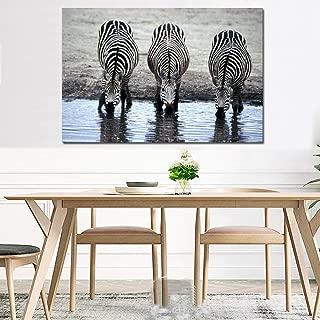 NIMCG Pintura de Animales Cebras Agua Potable Lienzo Impresiones de Carteles Arte en Blanco y Negro Impresión de Lienzo para Sala de Estar (sin Marco) 60x80 cm