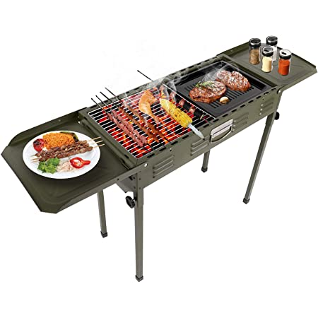 Barbecue Grill Portable Barbecue Charcoal Grill with Stand Charcoal BBQ Grill Set Smoker Grill Table Grill for Outdoor Cooking Camping Picnic Outdoor Garden Charcoal BBQ Grill Party
