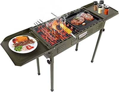 Folding Outdoor Camping Charcoal Grill, Portable Outdoor BBQ Charcoal Grill Stand Rack with Twin Wings, Solid Iron Barbecue Stand with Grill Net for Home Party Camping Picnic 120 31 62cm