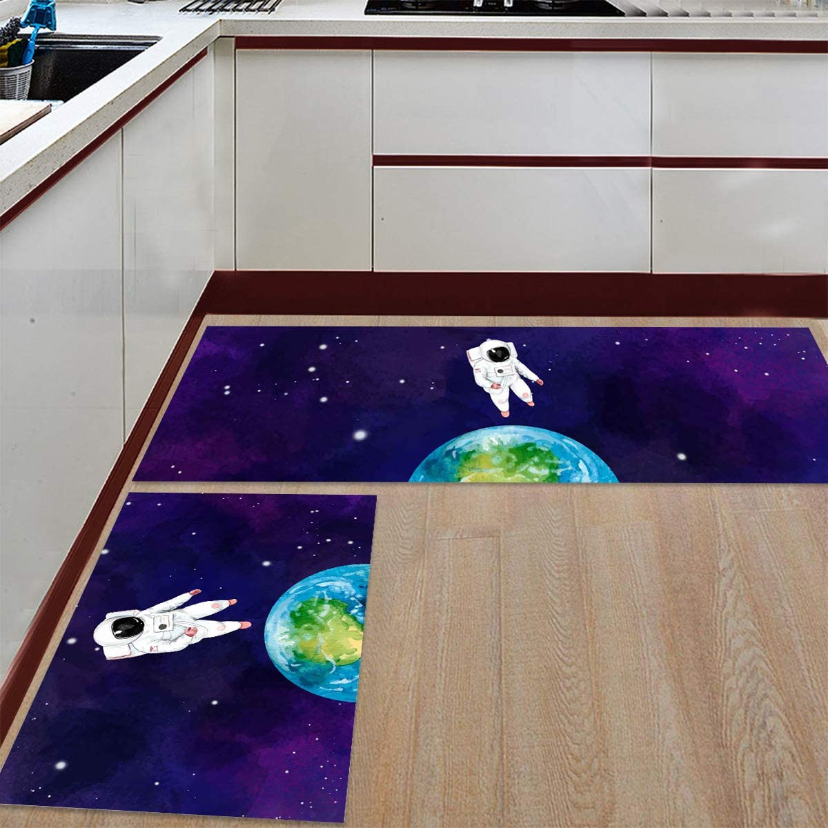 2 Pieces Anti-Slip Kitchen OFFicial mail order Mats Mesa Mall Astronaut Spa Flowing in Cartoon