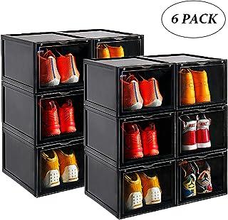 AOTENG STAR Storage Shoes Box Womens Mens Shoe Storage Display Box Plastic Foldable Stackable Shoe Container Clear Closet Shelf Shoe Organizer-Six Pack(Black)