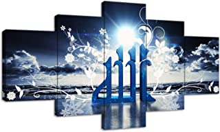 Islamic Muslim Allah Quran Paintings Modern Home Decor Wall Art Picture Artwork-5 Panel Prints Giclee for Living Room Home Decor Framed Stretched Ready to Hang