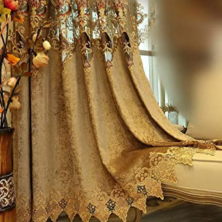 AiFish Chenille Curtains and Drapes for Bedroom Deluxe European Hollowed Cloth Curtains Embroidered Floral Half Blackout Draperies Curtains with Eyelets for Sliding Glass Door 1 Panel W39 x L96 inch