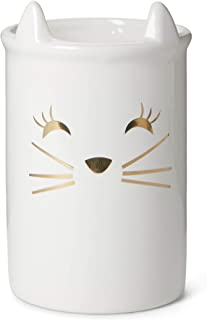 Tri-coastal Design Porta pinceles de maquillaje o contenedor de cepillos de cerámica - Contenedor de pinceles divertidos y accesorios de maquillaje - Aspiradora de tocador cosmética redonda (cat)