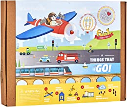 jackinthebox Things That Go Themed Craft Kit and Educational Toy for Boys and Girls | 6 Activities-in-1 Kit | Great Gift for Boys Aged 7-10 Years Old | Learning Stem Toys (Things That Go 6-in-1)