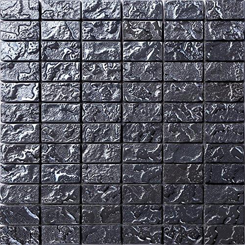 Vetro Mosaico Piastrelle Matte in Nero struttura effetto pietra Lava Bau (mt0120)