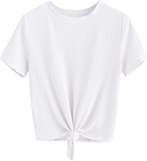 Women's Cute Knot Front Solid Ribbed Tee Crop Top T-Shirt