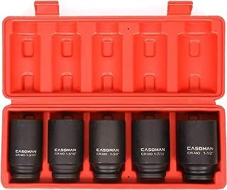 CASOMAN 1/2-Inch Drive Deep Spindle Axle Nut Impact Socket Set, 1/2
