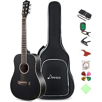 Donner 36'' Dreadnought Acoustic Guitar 3/4 Size Black Guitar Bundle Package Kit for Beginner Kid Teen Student Adult Travel, Spruce Wood With Gig Bag Capo Tuner Strap String Guitar Picks DAG-1MB