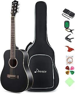 Donner 36'' Dreadnought Acoustic Guitar 3/4 Size Black Guitar Bundle Package Kit for Beginner Kid Teen Student Adult Trave...
