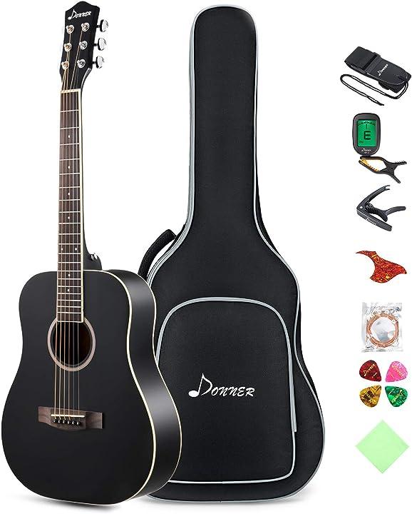 Chitarra acustica 36 pollici chitarra folk 3/4 donner con custodia corde plettri capo cinghia nero B07XR7YX2C
