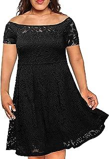 Nemidor Women's Vintage Floral Lace Short Sleeve Plus Size Cocktail Formal Swing Dress