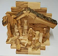Handcarved Bethlehem Olive Wood Miniature Nativity Scene Set with Stable 12 pieces by Bethlehem Gifts TM