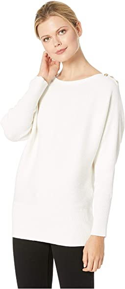 Button-Shoulder Cotton Sweater