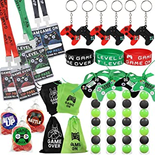 51 Pack Video Game Party Favors Set, Gaming VIP Pass Holder Ticket Candy Tubes Keychain Bracelet Gamer Party Bag for Game ...