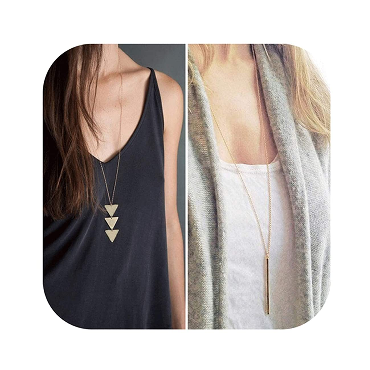 Defiro 2PCS Y Layer Simple Bar Pendant Necklace Center Long Lariat Chain for Women Jewelry