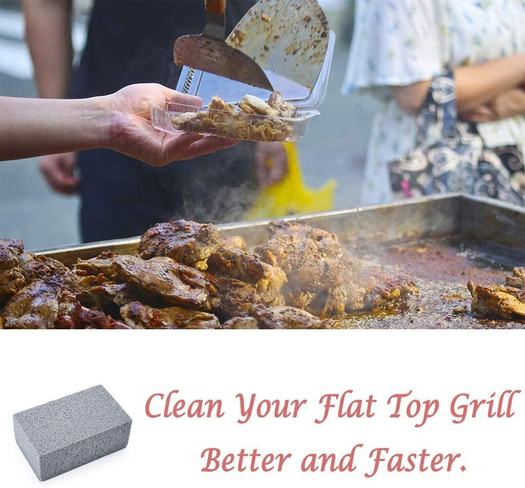 Mrjg 3PCS BBQ Cleaning Stone Non Slip Handheld Odorless Grill Ecological Clean Brick Barbecue Scraper Griddle Removing Stains Brush (Color : As the picture) As the Picture