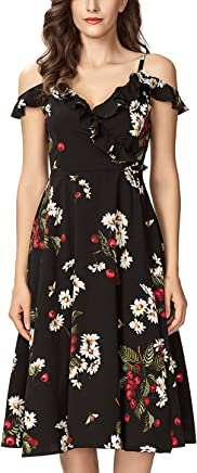 13aee479721e Noctflos Women s Summer Floral Cold Shoulder Midi Dress for Casual Cocktail  Wedding Guest