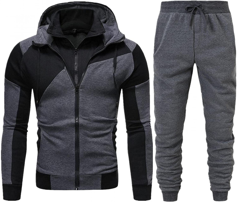 Aayomet Tracksuit Zip up Winter Warm Color Block Hoodie Sweatshirt Pants Two Piece Sweatsuits Sports Outfits Suits for Men